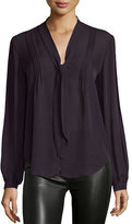 Paige Charlet Tie-Neck Pintuck Blouse