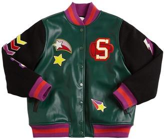 Stella Mccartney Kids Faux Leather & Felt Wool Bomber Jacket