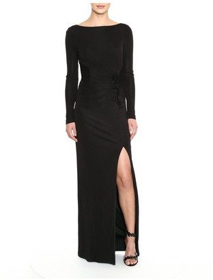 Marchesa Notte Long Sleeve Crepe Gown