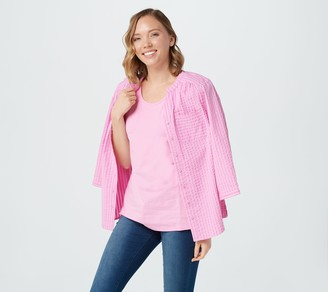 Denim & Co. Stretch Seersucker Top with Tank