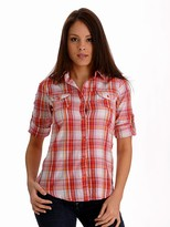 Magazine 3/4 Sleeve Plaid Buttondown
