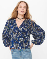 White House Black Market Paisley Floral Pleated-Sleeve Surplice Blouse