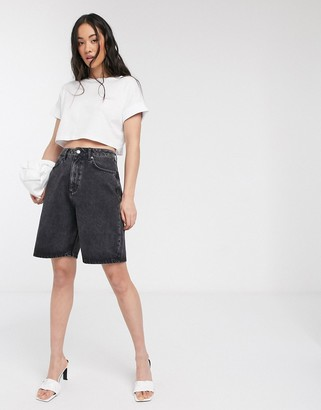 Asos DESIGN denim high rise easy wide leg shorts in washed black