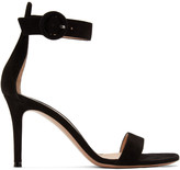 Gianvito Rossi Black Suede Portofino 85 Sandals