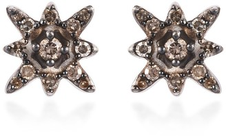 Shop Lc Platinum Over Sterling Silver Champagne Diamond Stud Earrings