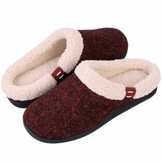 Hometop Women's Comfy Memory Foam Slippers Wool-Like Plush Fleece House Shoes with Indoor Outdoor Rubber Sole (Medium / 7-8 B(M) US