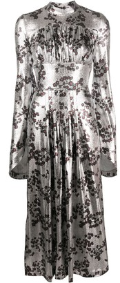 Paco Rabanne Metallic Floral Midi Dress