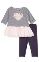 Infant Girl's Pippa & Julie Stripe Heart Embellished Top & Leggings Set