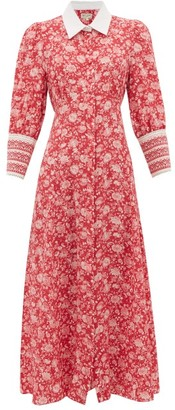 Beulah - Calla Rose Floral-print Silk Dress - Womens - Red White