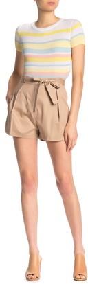 BCBGMAXAZRIA Tie Front Paperbag Twill Shorts