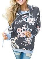 Hot Sale! Womens Floral Print Casual Loose Hoodies Sweatshirt Pullover Tops Blouse