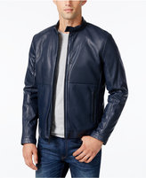 Calvin Klein Men's Perforated Faux-Leather Moto Jacket