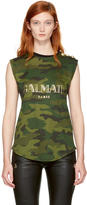 Balmain Black and Khaki Sleeveless Camo Logo T-Shirt