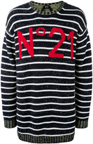 No.21 logo intarsia striped jumper - men - Cotton - 42