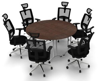 Symple Stuff Cotswald Circular Conference Table Set Finish: Java