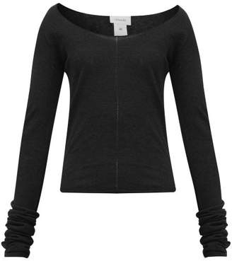 Lemaire Second Skin Scoop-neck Crepe-knit Sweater - Womens - Black