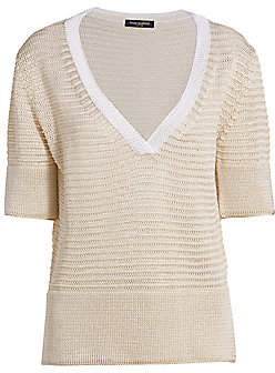 Piazza Sempione Women's Linen-Blend V-Neck Knit Short-Sleeve Sweater