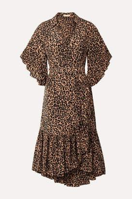 Michael Kors Wrap-effect Leopard-print Silk Crepe De Chine Dress - Leopard print