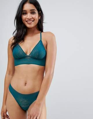 Sloggi Zero Lace longline bralette in green-Blue