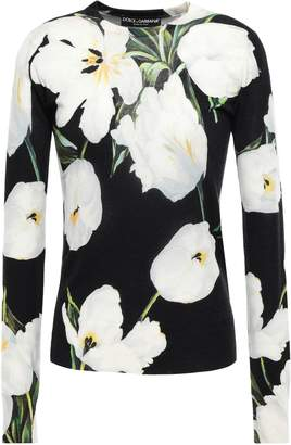 Dolce & Gabbana Floral-print Cashmere And Silk-blend Sweater