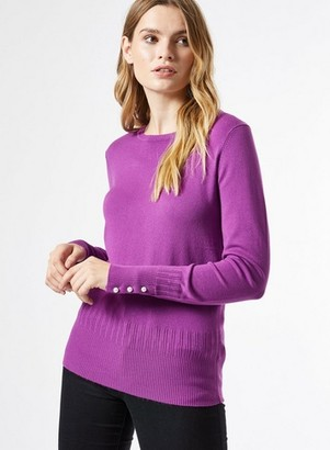 Dorothy Perkins Womens Purple Pearl Cuff Crew Neck Jumper, Purple