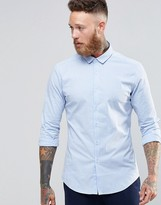 Asos Skinny Shirt In Blue Oxford Stripe With Long Sleeves