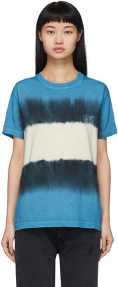 Off-White Blue and White Tie-Dye Skinny Arrows T-Shirt