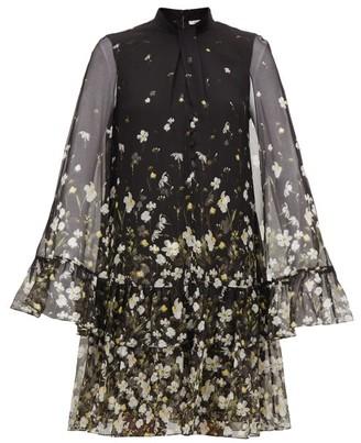 Erdem Concetta Daffodil Ditsy-print Silk-chiffon Dress - Womens - Black Print