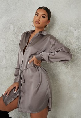 Missguided Satin Oversized Self Tie Shirt Dress