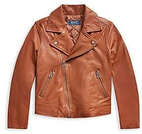 Ralph Lauren Girl's Leather Moto Jacket
