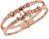 Kenneth Cole New York Rose Gold-Tone Multi-Crystal Openwork Hinged Bangle Bracelet