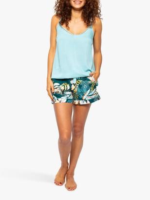 Cyberjammies Valerie Bird Print Camisole And Shorts Pyjama Set, Aqua