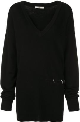 Tibi V-neck slit detail sweater