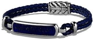 David Yurman Exotic Stone Station Blue Leather Bracelet with Lapis Lazuli