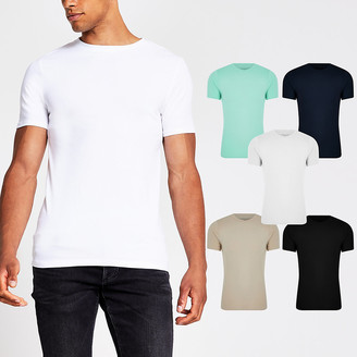 River Island Stone muscle fit T-shirt 5 pack