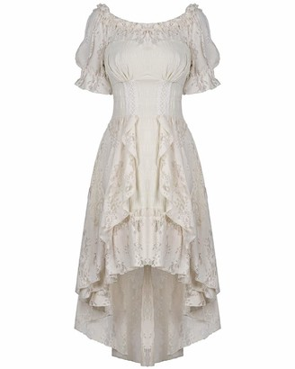 Dark In Love Wildwinde Steampunk Dress - Vintage Off-White/Cream - XXL
