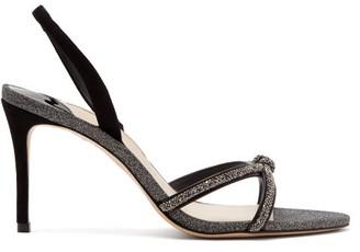 Sophia Webster Giovanna Glittered-leather Slingback Sandals - Womens - Black