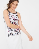 White House Black Market Petite Sleeveless Floral Colorblock Top