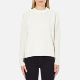 Maison Scotch Women's High Neck Sweatshirt With Special Textured Woven Front White