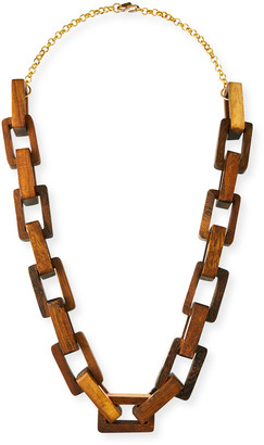 "Kenneth Jay Lane Wooden Square-Link Necklace, 32""L"