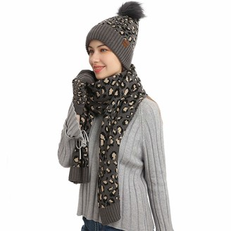 Baiyao Women Winter Beanie Hat Long Scarf Screen Gloves Set 3 Pieces Leopard Print Thick Plush Knit Cuffed Pompom Hat Neck Warmer with Mittens