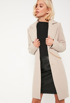 Missguided Nude Chain Detail Short Faux Wool Coat