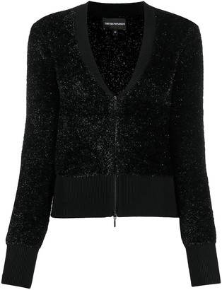 Emporio Armani Glitter-Embellished Zip Cardigan