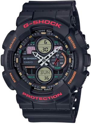Casio G Shock Black, Orange and Red Detail Chronograph Dial Black Resin Strap Mens Watch