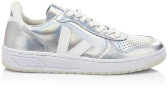 Veja V-10 Unicorn Leather Low-Top Sneakers