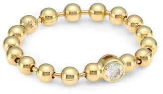 Maria Canale Flapper 18K Yellow Gold & Round Diamond Ball Chain Ring