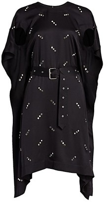 Burberry Antonina Studded Mulberry Silk Handkerchief Dress