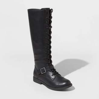 Universal Thread Women's Magda Faux Leather Lace Up Buckle Riding Boots - Universal ThreadTM