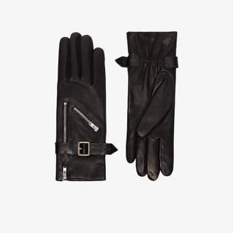 Agnelle Womens Black Barbra Tactile Leather Gloves