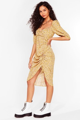 Nasty Gal Womens I'm Mrs Brightside Floral Midi Dress - Yellow - 6